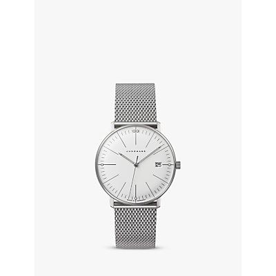 Junghans 047/4250 Women's Max Bill Damen Stainless Steel Bracelet Strap Watch, Silver/White