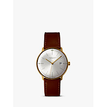 Buy Junghans 027/7700.00 Men's Max Bill Automatic Stainless Steel Leather Strap Watch, Camel Online at johnlewis.com