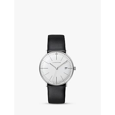 Junghans 047/4251.00 Women's Max Bill Damen Stainless Steel Leather Strap Watch, Black/White