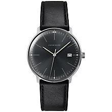 Buy Junghans 041/4465.00 Men's Max Bill Stainless Steel Leather Strap Watch, Black Online at johnlewis.com