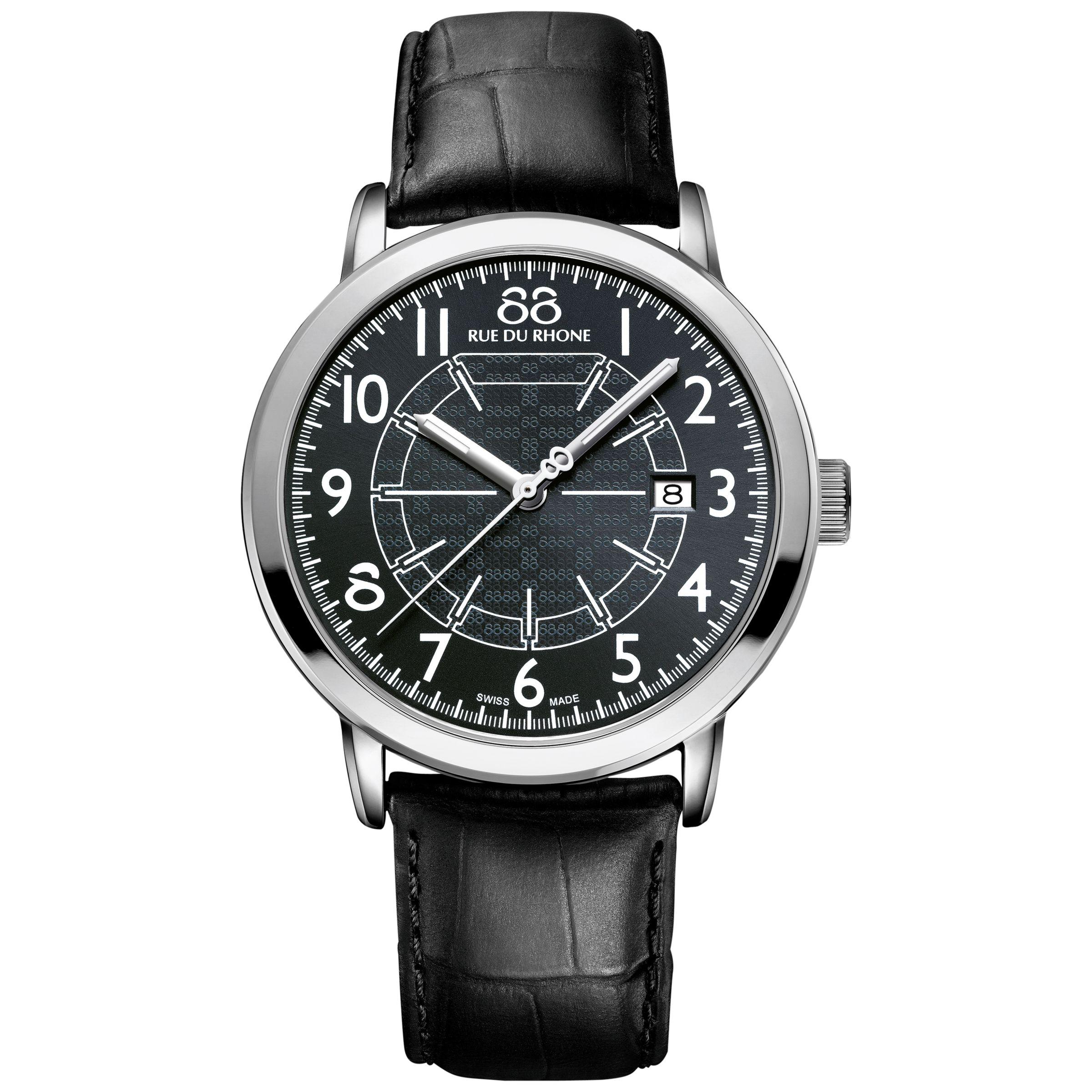 88 Rue Du Rhone 88 Rue Du Rhone 87WA144210 Men's Double 8 Origin Stainless Steel Leather Strap Watch, Black