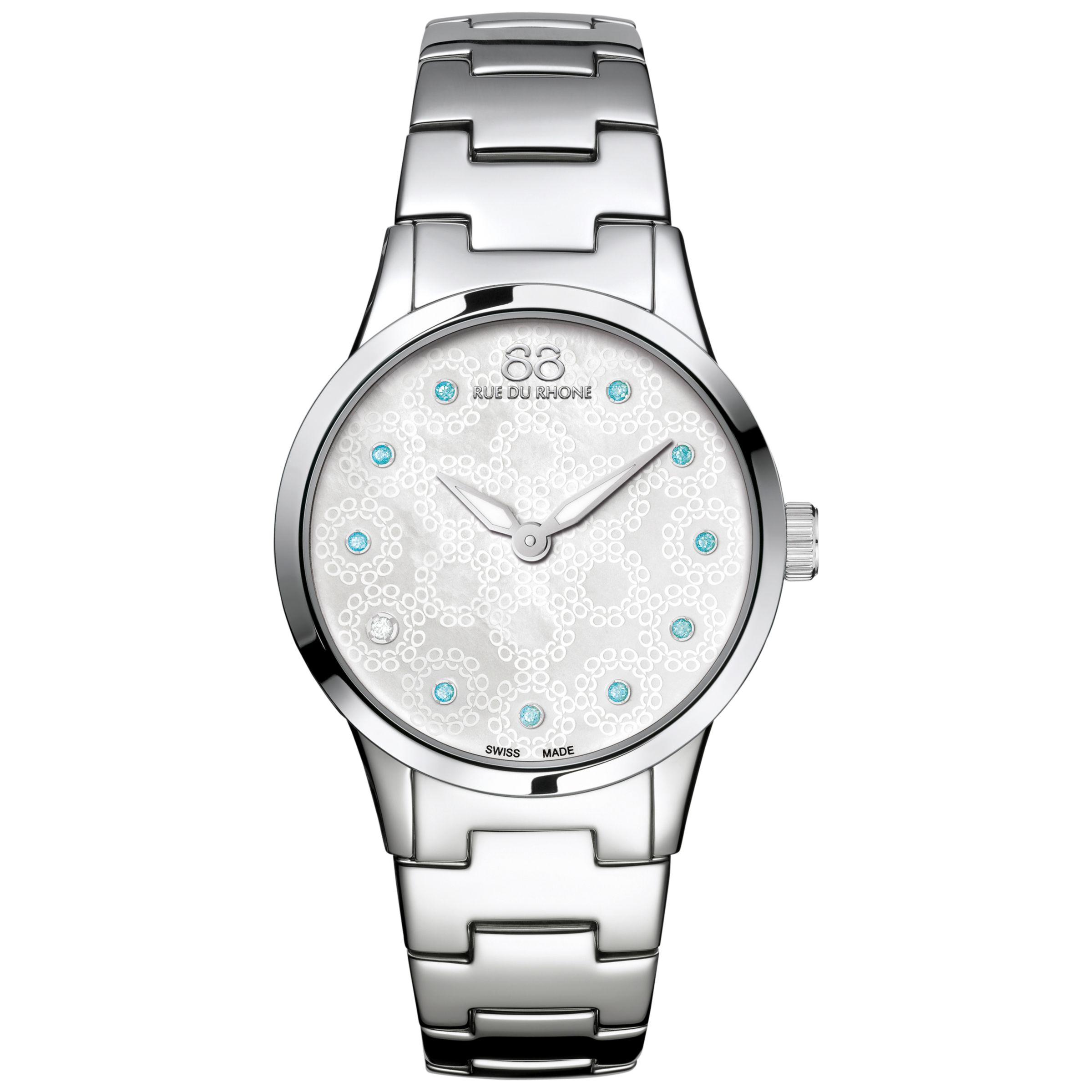 88 Rue Du Rhone 88 Rue Du Rhone 87WA153210 Women's Rive Blue Topaz and Diamond Filigree Dial Bracelet Strap Watch, Silver/Mother of Pearl