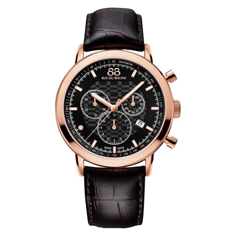 88 Rue Du Rhone 88 Rue Du Rhone 87WA154207 Men's Double 8 Origin Leather Strap Watch, Brown