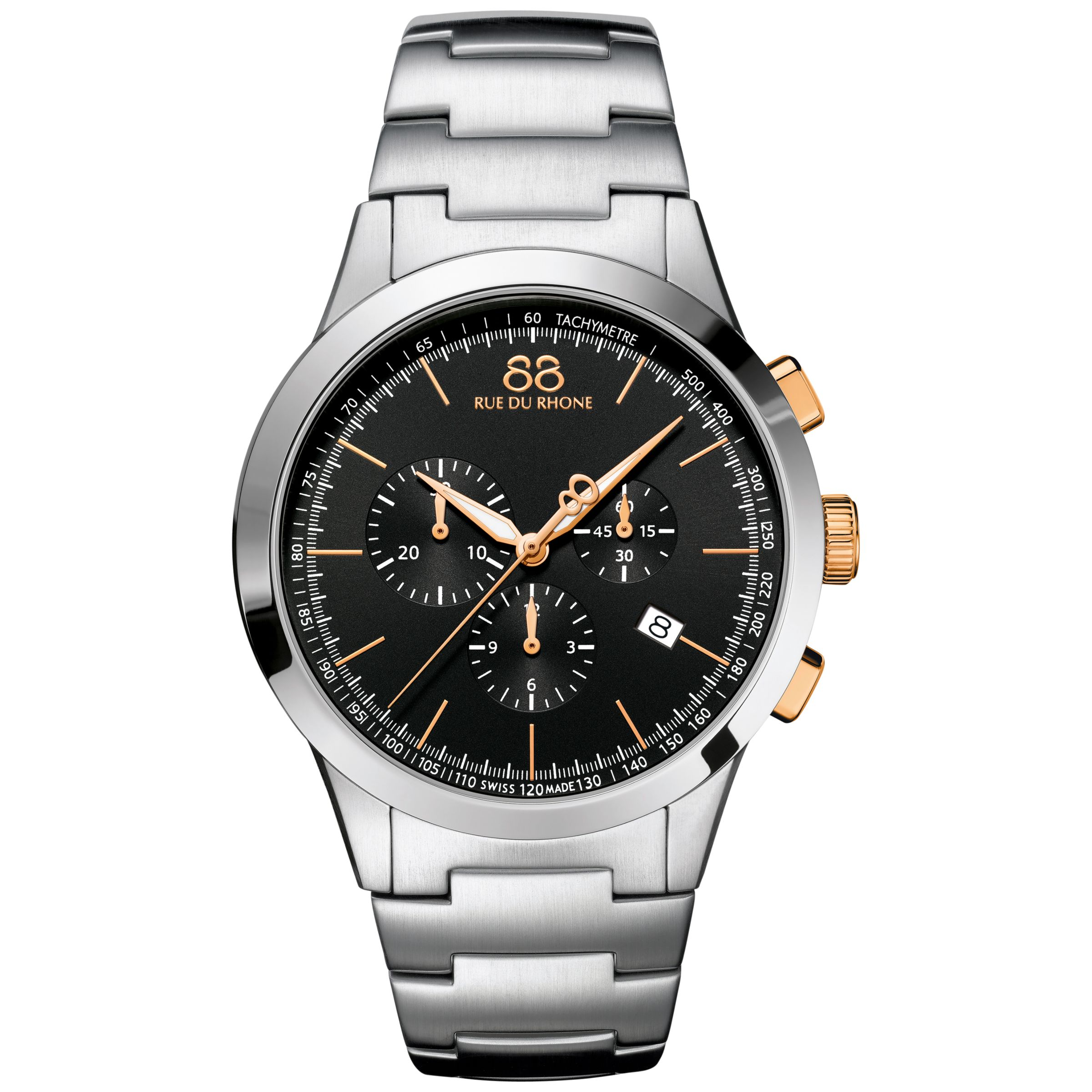 88 Rue Du Rhone 88 Rue Du Rhone 87WA154303 Men's Rive Chronograph Stainless Steel Bracelet Strap Watch, Silver/Black