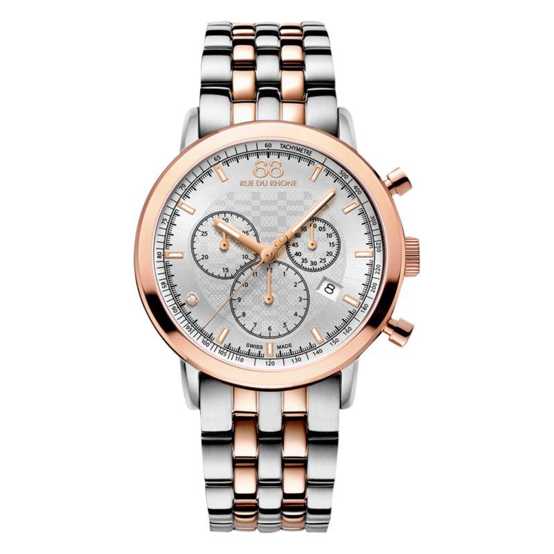 88 Rue Du Rhone 88 Rue Du Rhone 87WA154204 Men's Double 8 Origin Rose Gold Plated Stainless Steel Bracelet Strap Watch, Silver/Rose Gold