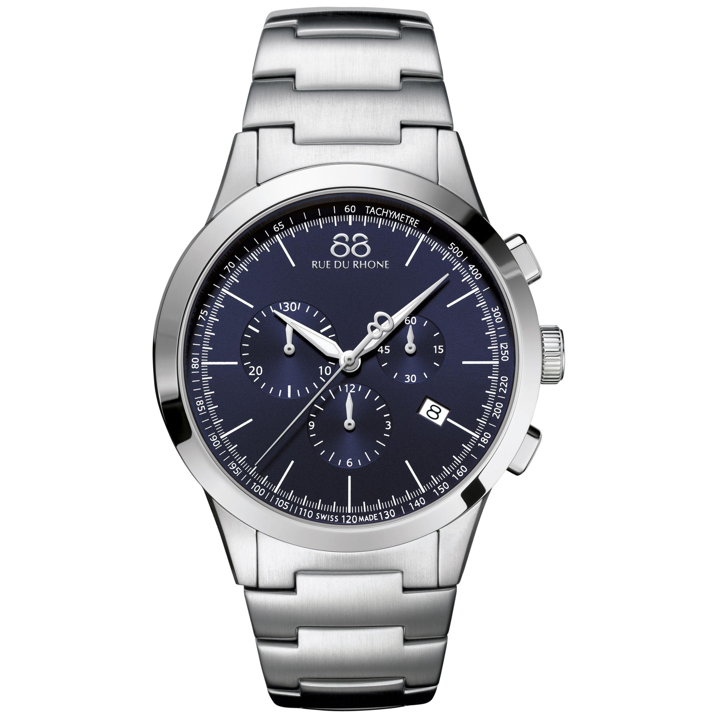 88 Rue Du Rhone 88 Rue Du Rhone 87WA154305 Men's Rive Chronograph Stainless Steel Bracelet Strap Watch, Silver/Blue