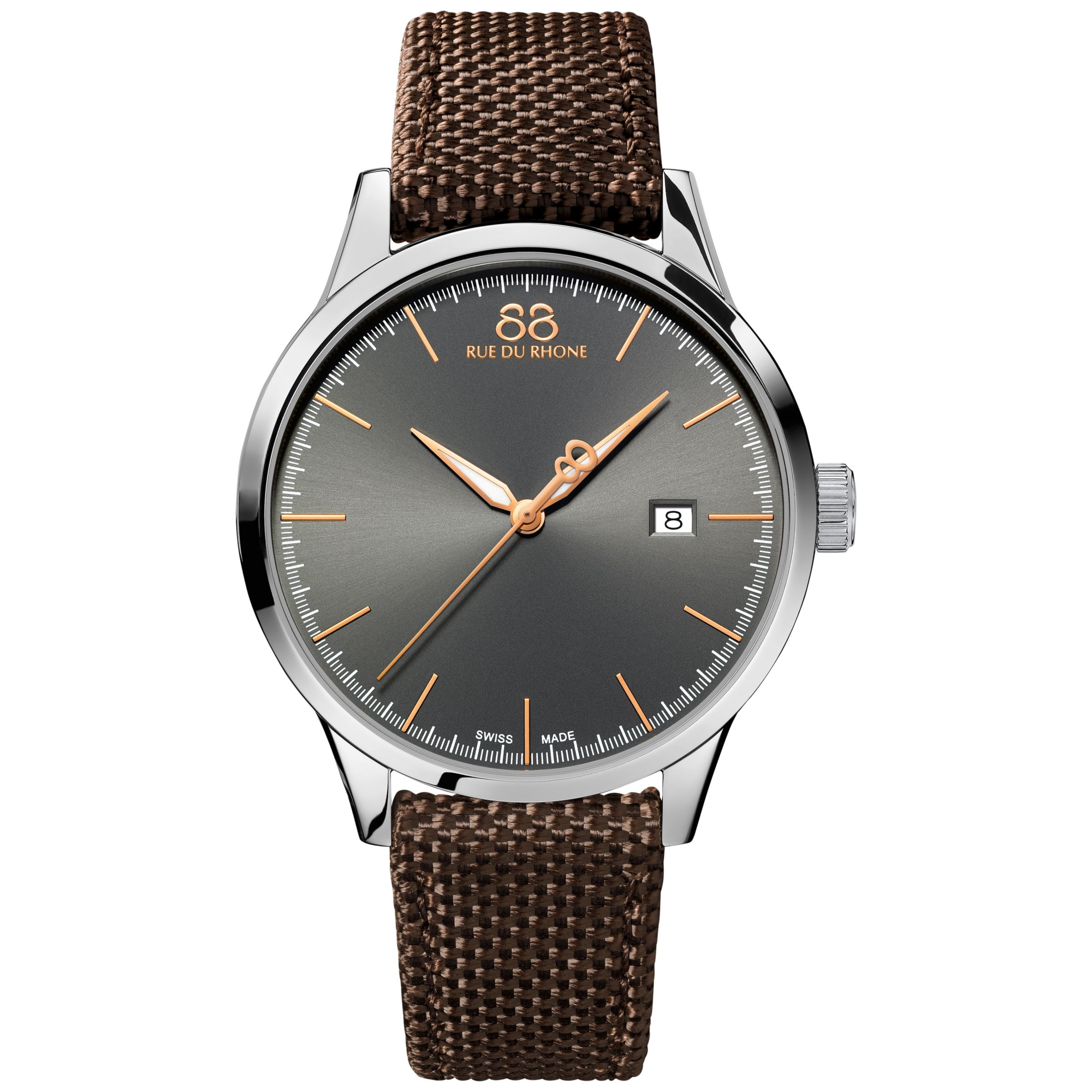88 Rue Du Rhone 88 Rue Du Rhone 87WA154109 Men's Rive Nato Fabric Strap Watch, Brown/Grey