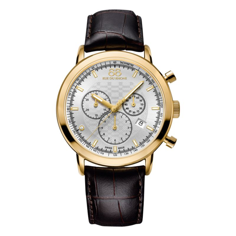 88 Rue Du Rhone 88 Rue Du Rhone 87WA154206 Men's Double 8 Origin Chronograph Alligator Leather Strap Watch, Brown/Silver