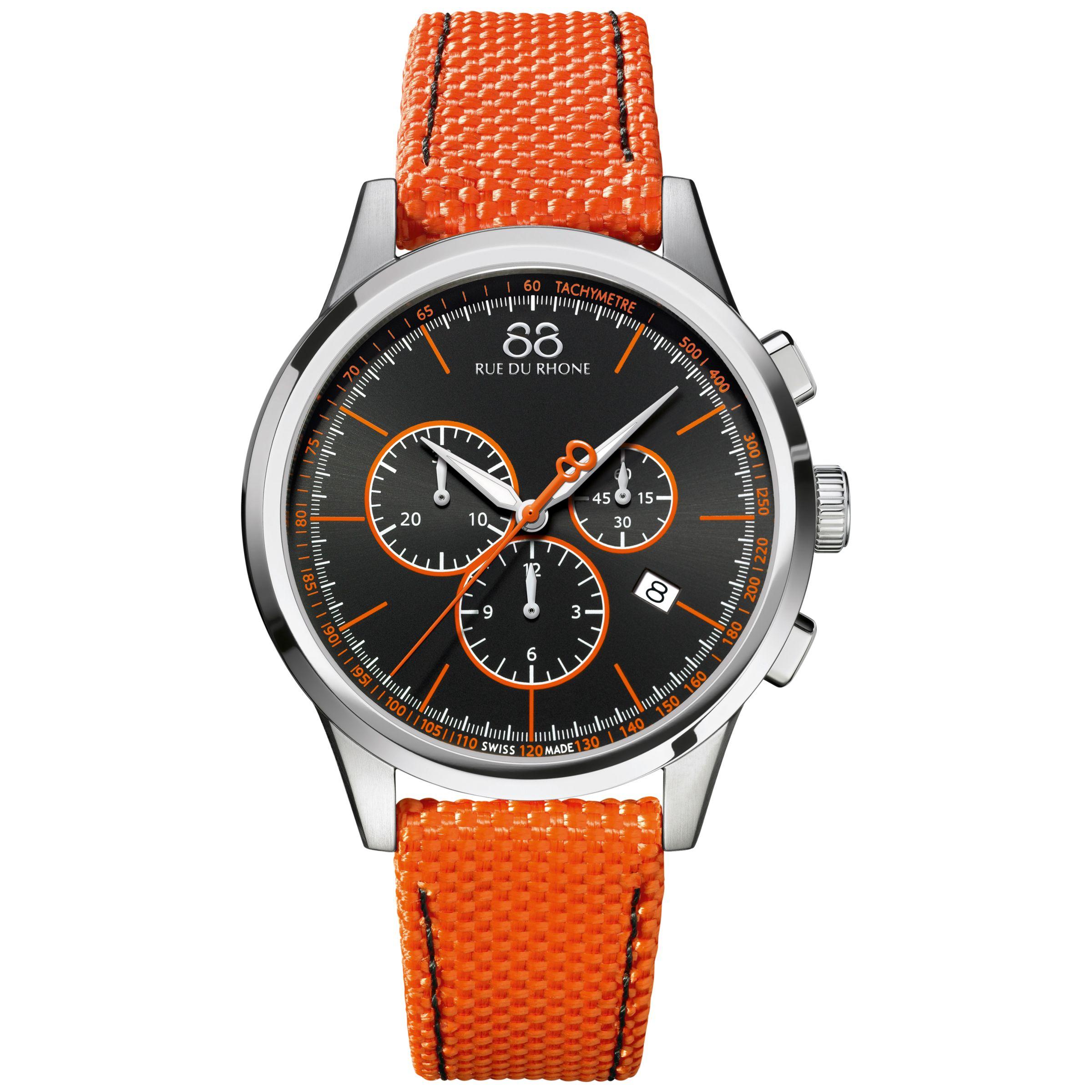 88 Rue Du Rhone 88 Rue Du Rhone 87WA154301 Men's Rive Chronograph Nato Fabric Strap Watch, Orange/Black