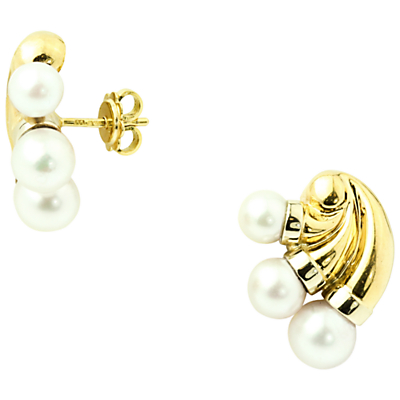 Turner & Leveridge 1993 18ct Gold Cultured Pearl Stud Earrings, Gold