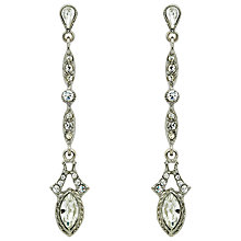 Buy Downton Abbey Silver Plated Crystal Linear Drop Earrings, Silver Online at johnlewis.com