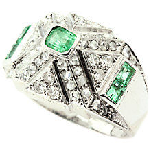Buy Turner & Leveridge 1920s Platinum Emerald Diamond Ring, Green Online at johnlewis.com