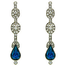 Buy Downton Abbey Silver Plated Crystal Montana Teardrop Earrings, Silver Online at johnlewis.com