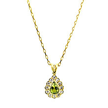 Buy Turner & Leveridge 1996 18ct Gold Peridot Diamond Pendant Necklace, Green Online at johnlewis.com