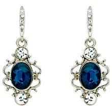 Buy Downton Abbey Silver Plated Crystal Drop Earrings, Silver Online at johnlewis.com