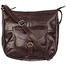 Buy Fat Face Scoop Leather Cross Body Bag, Peat Online at johnlewis.com