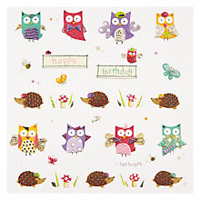 Buy Mint Owls and Hedgehogs Birthday Card Online at johnlewis.com