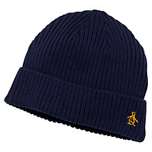 Buy Original Penguin Merino Rib Beanie Hat, One Size, Navy Online at johnlewis.com