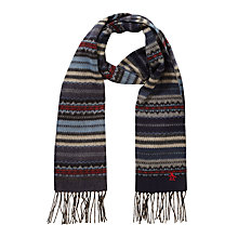 Buy Original Penguin Fair Isle Merino Wool Scarf, Navy Online at johnlewis.com