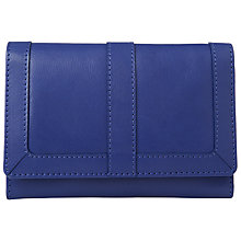 Buy John Lewis Emma Leather Medium Flapover Purse, Blue Online at johnlewis.com