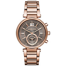 Buy Michael Kors MK6226 Women's Sawyer Stainless Steel Bracelet Watch, Rose Gold Online at johnlewis.com