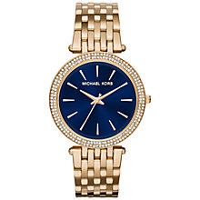 Buy Michael Kors MK3406 Women's Darci Bracelet Strap Watch, Gold/Blue Online at johnlewis.com