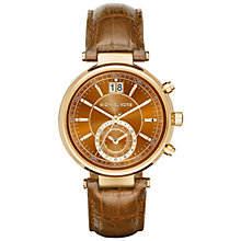 Buy Michael Kors Women's Sawyer Chronograph Leather Strap Watch Online at johnlewis.com