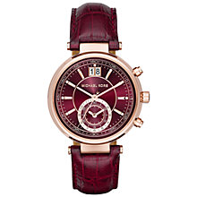 Buy Michael Kors Women's Sawyer Leather Strap Watch Online at johnlewis.com