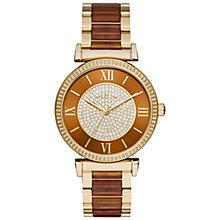 Buy Michael Kors MK3411 Women's Catlin Stainless Steel Bracelet Strap Watch, Gold/Brown Online at johnlewis.com
