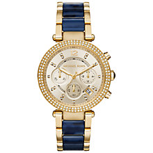 Buy Michael Kors MK6238 Women's Parker Stainless Steel Bracelet Strap Watch, Gold/Navy Online at johnlewis.com