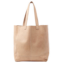 Buy Oasis Leather Unlined Shopper Bag, Camel Online at johnlewis.com