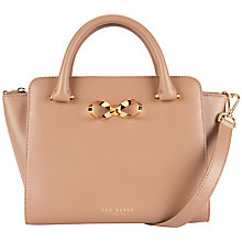 Buy Ted Baker Hollie Bow Leather Tote Bag, Mink Online at johnlewis.com
