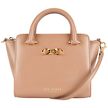 Buy Ted Baker Mini Bow Leather Tote Bag, Mink Online at johnlewis.com