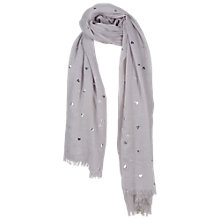 Buy Fat Face Anna Foil Heart Scarf, Grey Online at johnlewis.com