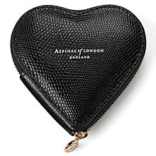 Buy Aspinal of London Leather Heart Coin Purse, Black Online at johnlewis.com