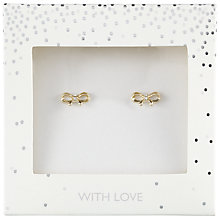 Buy John Lewis Bow Stud Earrings, Gold Online at johnlewis.com