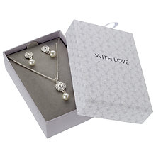 Buy John Lewis Sterling Silver Flower Faux Pearl Necklace and Earrings Set, Silver Online at johnlewis.com