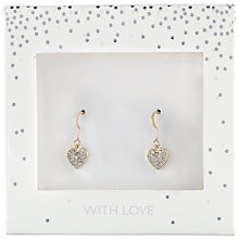 Buy John Lewis Pave Encrusted Heart Drop Earrings, Gold Online at johnlewis.com