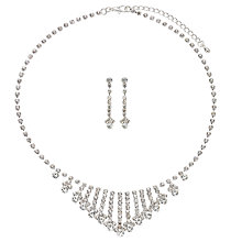Buy John Lewis Cubic Zirconia Fan Collar and Drop Earrings Set, Silver Online at johnlewis.com