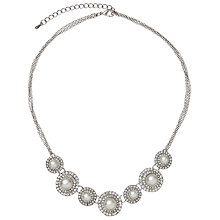 Buy John Lewis Pearl and Pave Circle Design Necklace, Silver Online at johnlewis.com