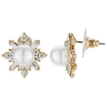 Buy John Lewis Faux Pearl Cubic Zirconia Stud Earrings, Silver Online at johnlewis.com