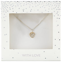 Buy John Lewis Pave Heart Pendant Necklace, Gold Online at johnlewis.com