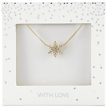 Buy John Lewis Glass Stone Pave Snowflake Pendant Necklace, Gold Online at johnlewis.com