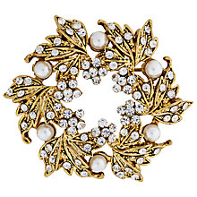 Buy John Lewis Vintage Gold Plated Glass Stone Wreath Brooch, Gold Online at johnlewis.com