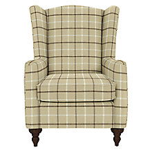 Buy John Lewis Devon Wing Armchair with Dark Legs, Oakley Check Putty Online at johnlewis.com