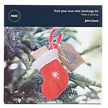 Buy John Lewis Make Your Own Knitted Christmas Stockings, Pack of 3, Red Online at johnlewis.com