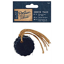 Buy Docrafts Scalloped Denim Tags, Navy, 6pcs Online at johnlewis.com