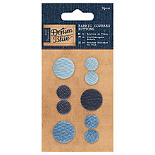 Buy Docrafts Fabric Covered Buttons, Denim Blue, 9pcs Online at johnlewis.com