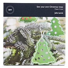 Buy John Lewis Sew Your Own Christmas Tree Decorations, Pack of 4, Green Online at johnlewis.com