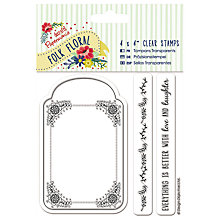 "Buy Docrafts Folk Floral Frame Stamp, Clear, 4 x 4"" Online at johnlewis.com"
